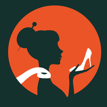 glamorous: Beautiful elegant woman silhouette holding a shoe in vector format. Vintage round composition