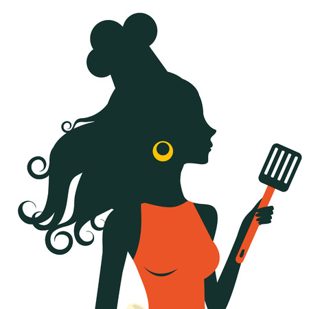 An illustration of a beautiful cooking woman holding spatula
