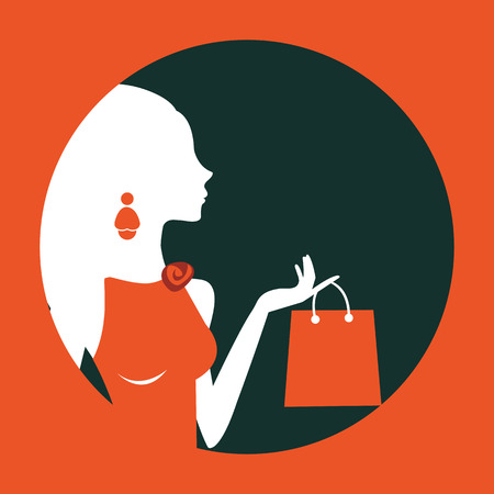 glamorous: An illustration of beautiful woman shopping composed in a circle. Illustration in vector format Illustration