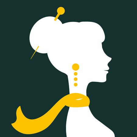 elegant woman: Beautiful elegant woman silhouette in vector format