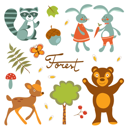 pine nut: Cute forest animals colorful collection. vector illustration