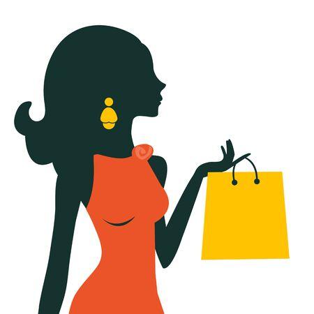 woman bag: Beautiful woman shopping illustration in vector format Illustration