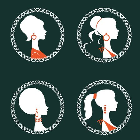 woman pose: Beautiful elegant women silhouettes set in vector format Illustration