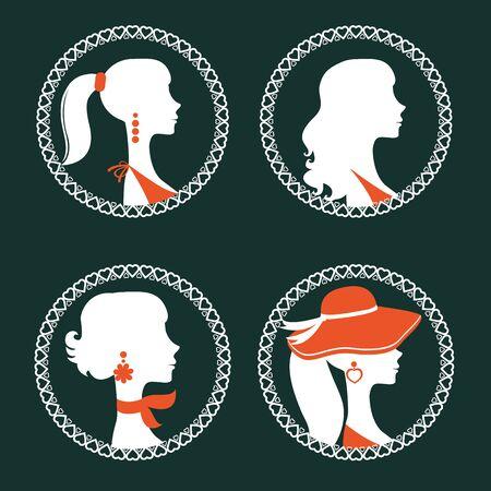 donne eleganti: Belle Donna elegante silhouette impostato in formato vettoriale Vettoriali