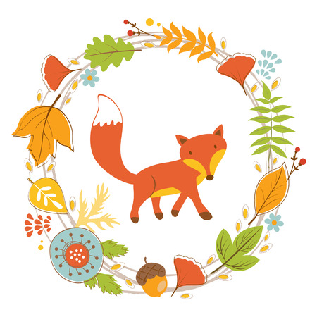 creature: Little fox character in floral wreath colorful illustration in vector format