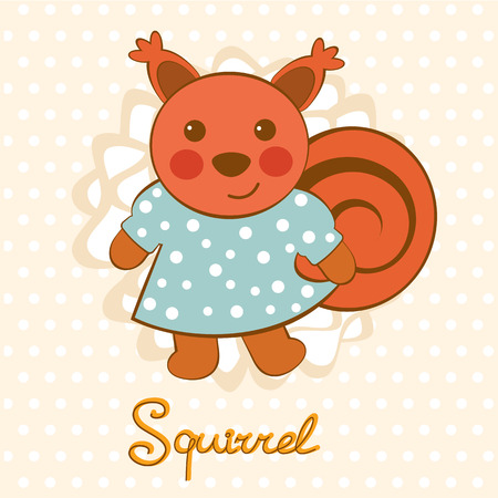 woodland: Little squirrel character colorful illustration in vector format Illustration