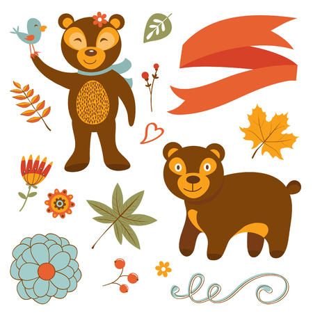 bear berry: Cute bears colorful set with flowers leaves and twigs. Illustration in vector format