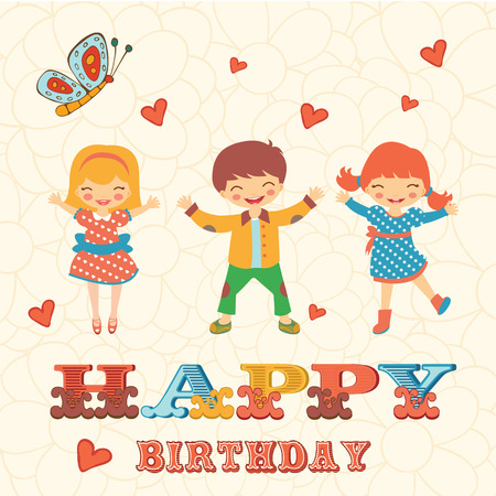 hooray: Stylish Happy birthday card with cute kids jumping.  Illustration in vector format Illustration
