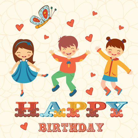 dance school: Stylish Happy birthday card with cute kids jumping.  Illustration in vector format Illustration