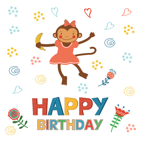 hooray: Stylish Happy birthday card with cute monkey playing and having fun.  Illustration in vector format