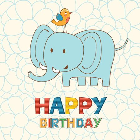 cartoon animals: Cute Happy Birthday card with funny elephant and bird. vector illustration