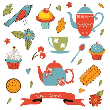 biscuit: Colorful tea party set. Illustration in vector format Illustration