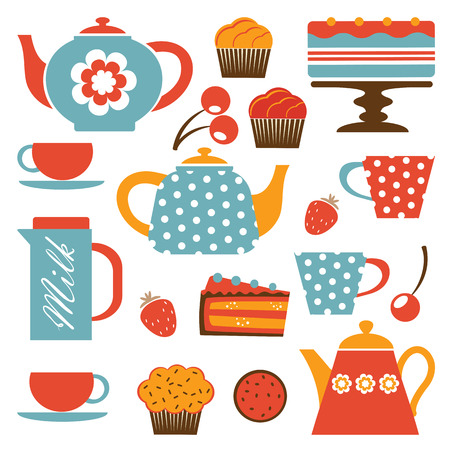 Colorful tea party set. Illustration in vector format Ilustrace