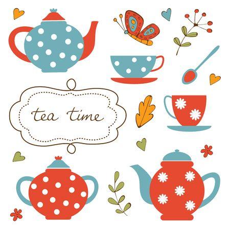 kitchens: Colorful tea party set. Illustration in vector format Illustration
