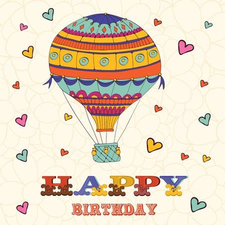 お誕生日おめでとうカード、熱気球と心。ベクトル形式のイラスト