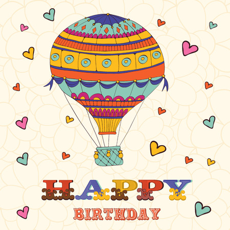 Happy birthday card with hot air balloon and hearts. Illustration in vector format 向量圖像