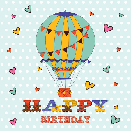 Happy Birthday Card With Hot Air Balloon And Hearts Illustration