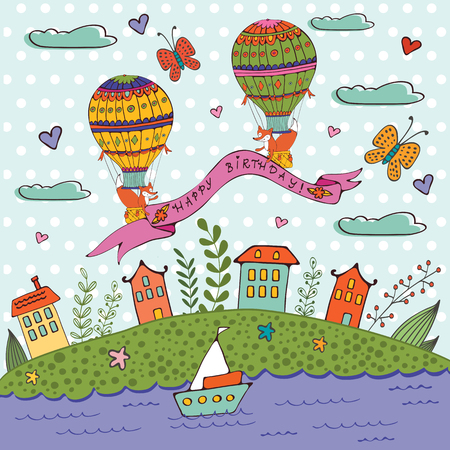 Hot house: Happy birthday card with hot air balloons and houses. Illustration in vector format
