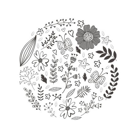 twigs: Elegant round composition with flowers leaves and twigs. Vector illustration