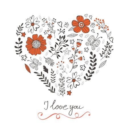 doodling: Elegant love card with floral heart and handwritten words. Illustration in vector format Illustration