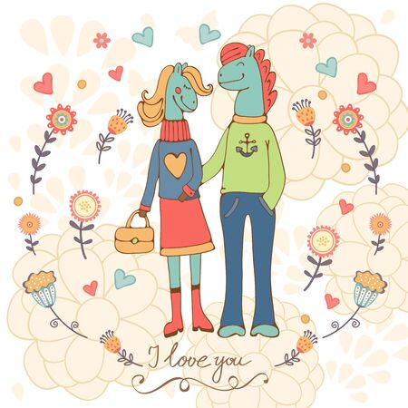 arboles de caricatura: Te amo tarjeta de concepto con lindos personajes de caballos dibujados a mano pareja. Ilustración vectorial
