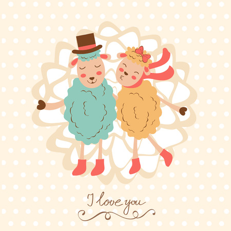 doodling: Concept love card with cute sheeps couple. vector illustration Illustration