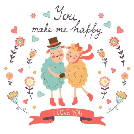 sheeps: You make me happy romantic card with cute sheeps couple. vector illustration