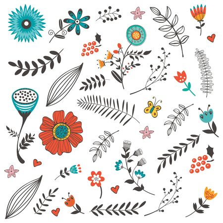doodling: Elegant collection with flowers leaves and twigs. Ideal for invitations wedding or greeting cards Illustration