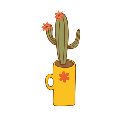 terrarium: Cactus plant in a vase. Illustration in vector format