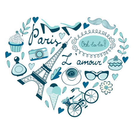 france perfume: Love for Paris concept card. Paris related icons in heart shape composition. Vector illustration