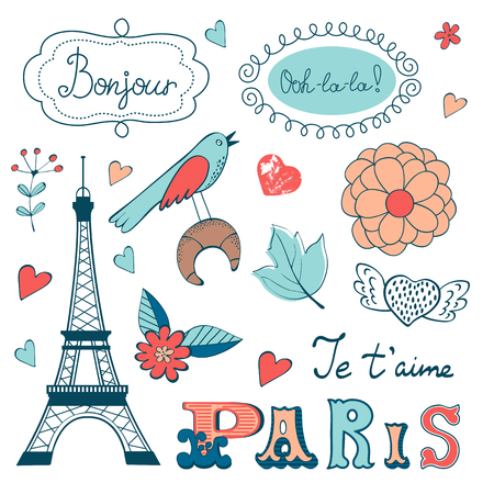 coffee and cake: Beautiful collection of paris related graphic elements. Illustration in vector format