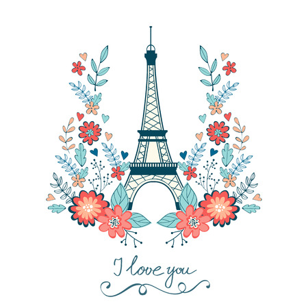 vignettes: Concept love card with Eiffel tower and floral wreath. Vector illustration