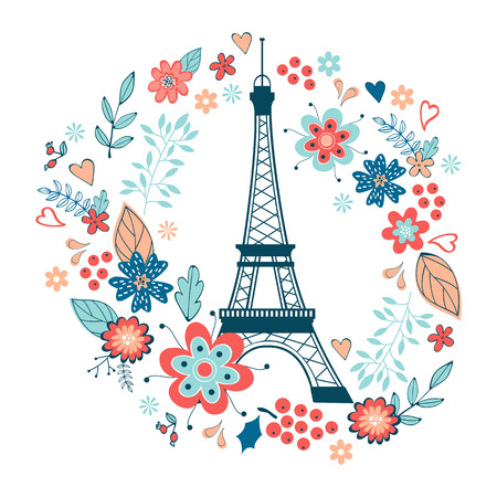 Eiffel Tower: Concept love card with Eiffel tower and floral wreath. Vector illustration