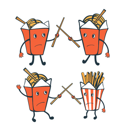 chinese food: Funny characters. Chinese food boxes and french fries. Illustration in vector format Illustration