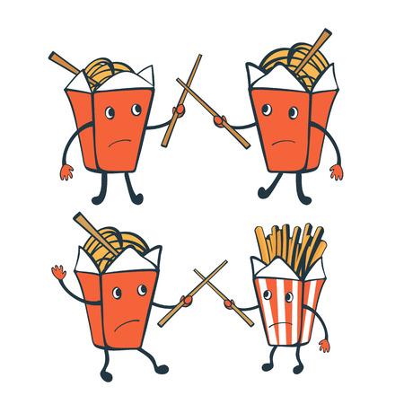 chinesisch essen: Lustige Zeichen. Chinesische Nahrungsmittelk�sten und franz�sisch frites. Illustration im Vektorformat Illustration