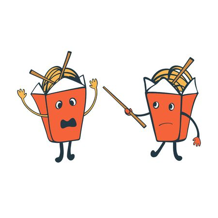food fight: Funny characters. Chinese food boxes fighting. Illustration in vector format Illustration