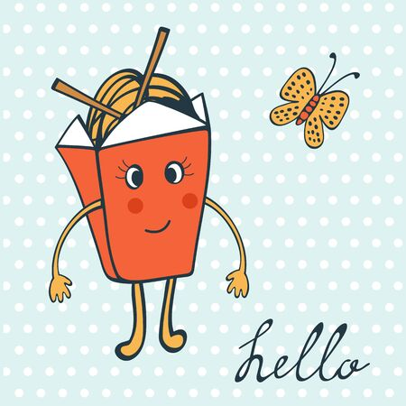 chinese food container: Hello card with funny character. Chinese food box and butterfly. Illustration in vector format Illustration