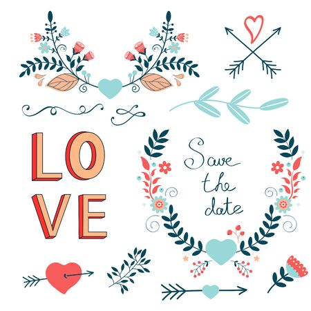 handwritten: Romantic collection with flowers, wreaths and other graphic elements. Retro style floral wreaths. Vector illustration