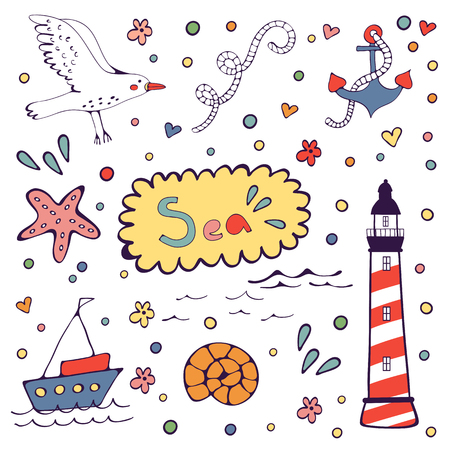 brig: Sea doodles. Cute sea related hand drawn graphic elements in vector format