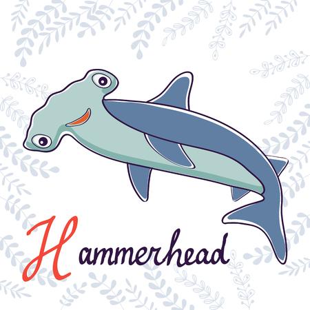 pez martillo: Ilustración de H es para Hammerhead. El formato del vector
