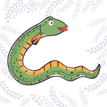 eel: Illustration of E is for Eel. Vector format