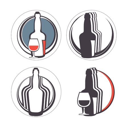 alcohol logo: Stylish collection of alcohol emblems. Illustration in vector format Illustration