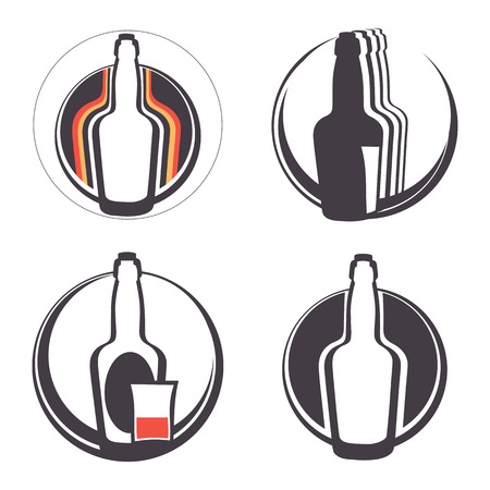 moonshine: Stylish collection of alcohol emblems. Illustration in vector format Illustration