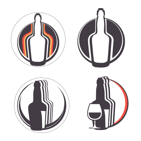 hard stuff: Stylish collection of alcohol emblems. Illustration in vector format Illustration