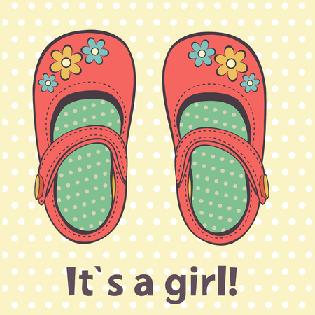 baby shoes: It s a girl cute card. Illustration of beautiful baby girl shoes in vector format