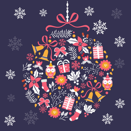 navidad elegante: Colorful Merry Christmas composition with holiday elements. Vector illustration Vectores