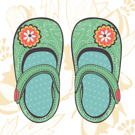 baby girl: Illustration of beautiful baby girl shoes in vector format Illustration