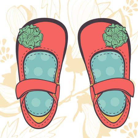 tienda zapatos: Ilustración de hermosos zapatos del bebé en formato vectorial Vectores