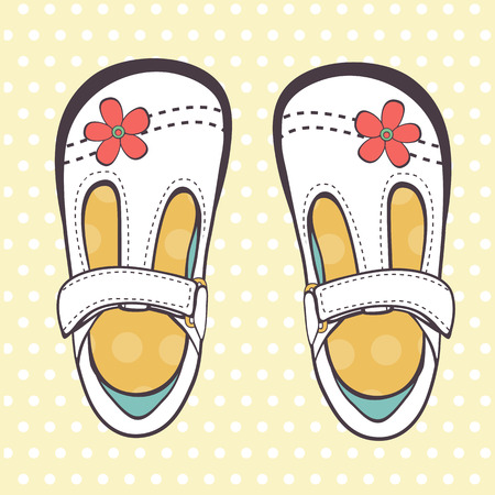 baby shoes: Illustration of beautiful baby girl shoes in vector format Illustration