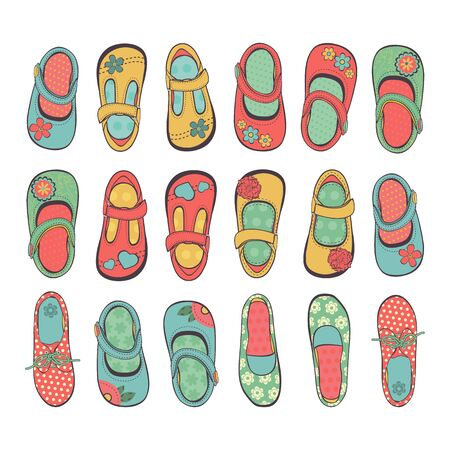 shoes vector: Cute collection of little girls shoes. Illustration in vector format
